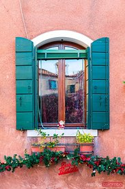 Typical window decorated for Christmas, Burano, Venice, Italy