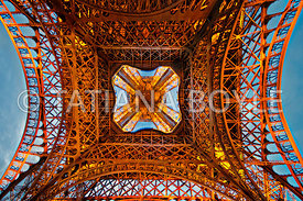 Upward view of Eiffel Tower