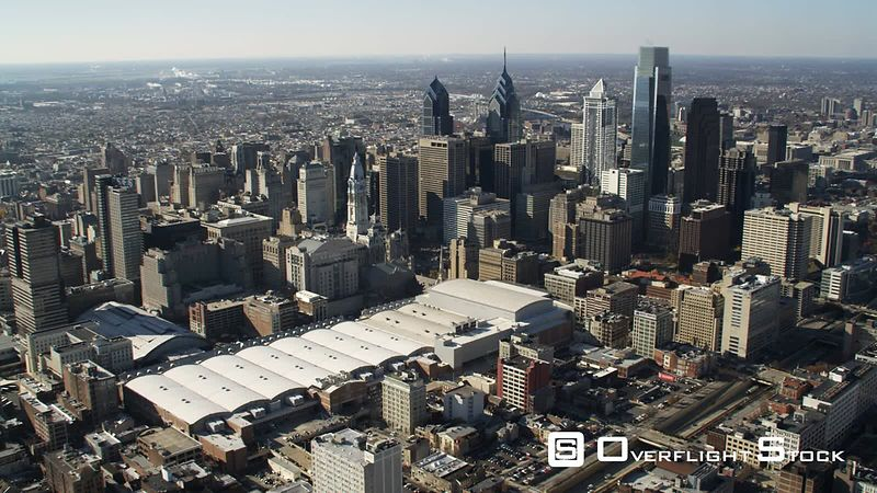Aerial View of Downtown Philadelphia.