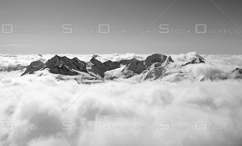 Mount Hamill and Mount Toby Purcell Range BCBlack and White of