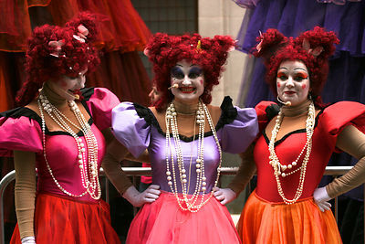Les Poupées Géantes Ladies Pose for a Photograph after Performing in Piccadilly Circus London