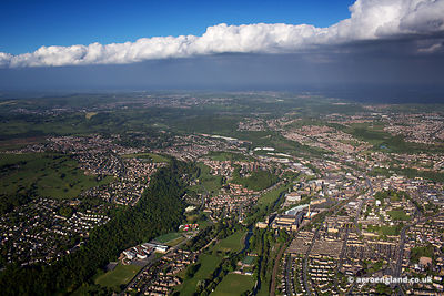 aerial photograph of Saltaire and Baildon, Bradford, West Yorkshire
