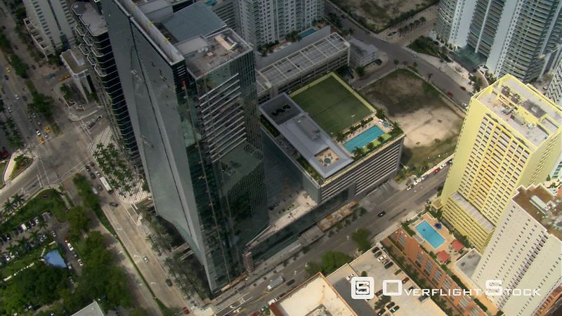 Close flight past Espirito Santo Plaza in Miami.
