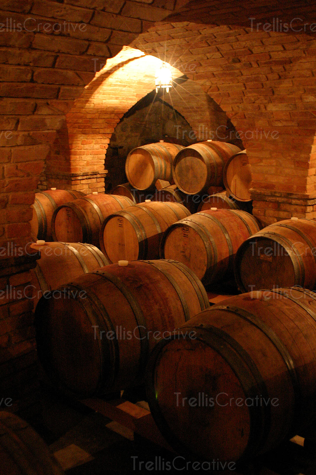 oak barrels stacked top. Oak Wine Barrels Stacked Up In An Old Winery Cave Top I