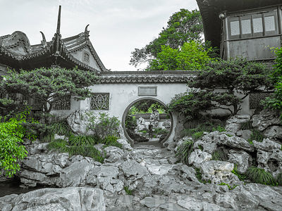 A moon gate connecting with rockeries at Yu Garden Shanghai.