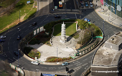aerial photograph of the Chinese Pagoda  Birmingham, West Midlands England UK