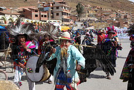 Masked kusillo character wearing a dead Andean condor (Vultur gryphus)dancing with suri sikuris group at Chutillos festival, Potosí, Bolivia