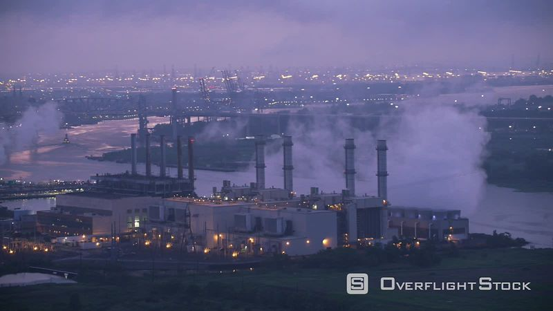 New Jersey Flying by industrial area with power plant in early morning.   Shot with Cineflex and RED EpicW Helium.