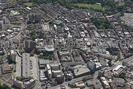 Preston aerial photograph looking across from the Ring Way down Lancaster road towards Fishergate and the main shopping area
