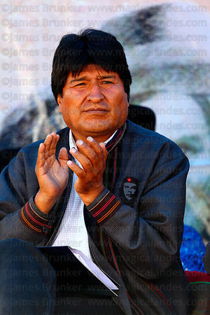 Bolivian president Evo Morales applauds at an event to celebrate Bolivia rejoining the 1961 UN Single Convention on Narcotic Drugs, La Paz, Bolivia