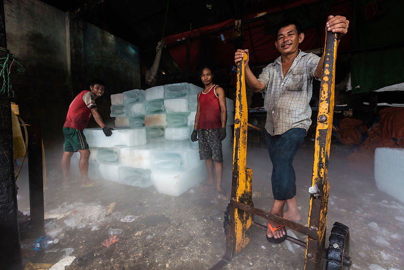 Ice Workers at the Sanpya Wholesale Fish Market