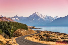 The road to Mt. Cook at sunrise, Canterbury, New Zealand