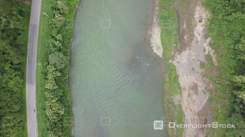 Aerial view of Nam Khan river nearby Xiang Ngeun, filmed by drone, Luang Prabang Province, Laos