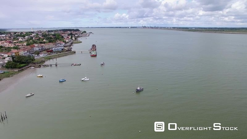 Aerial view of the Loire estuary at Paimboeuf, filmed by drone, France