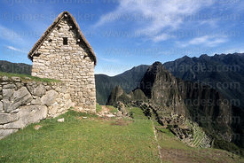 Watchmans Hut, Machu Picchu and Huayna Picchu mountain in background, Peru