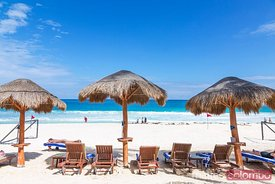 Tropical beach on the caribbean sea, Cancun, Mexico