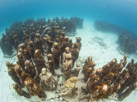 Part of 450 life-0sized underwater sculptures installed in 2009-2012 by Jason deCairesTaylor in 8m/23Ft on Manchones Reef near the south end of Isla Mujeres, Mexico. Other parts of the collection are underwater near Cancun and Punta Nizuc