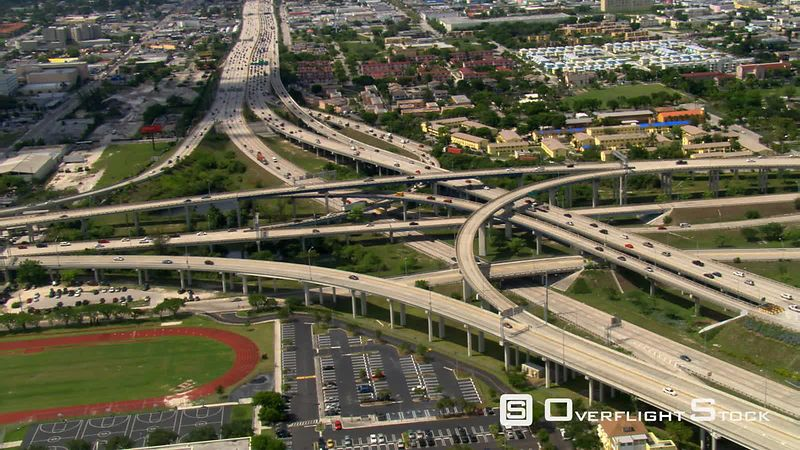 Wide aerial view of Miami interchange.