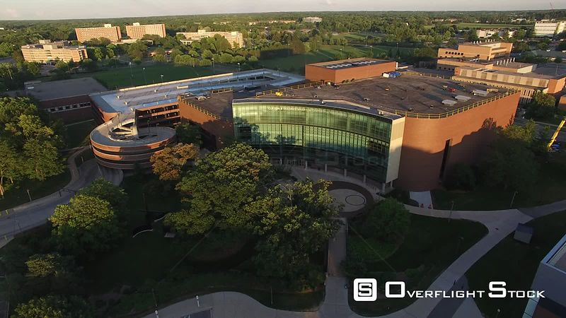 Drone Video of Michigan State University at East Lansing. Wharton Center for the Performing Arts