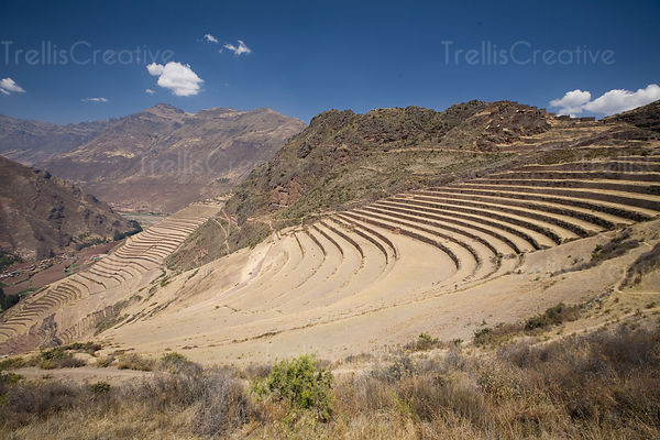 Farming platforms were sculpted into the sides of mountains to provide inhabitants with well suited growing conditions for crops, Pisac, Peru