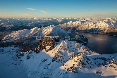 Winter Sunset of Table Mountain with Garibaldi Lake and Blacktusk BC