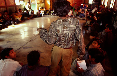 India - Delhi - Child speaking at a meeting of the Child Trades Union