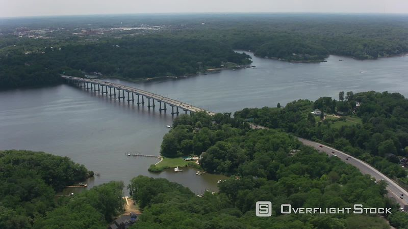 Annapolis, Maryland Aerial view of the Severn River Bridge outside of Annapolis.   Shot with Cineflex and RED EpicW Helium.