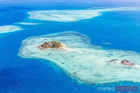 Aerial view of Wadigi island, Mamanucas islands, Fiji