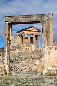 Looking towards the Capitol from the slave market at Dougga; Tunisia; Portrait
