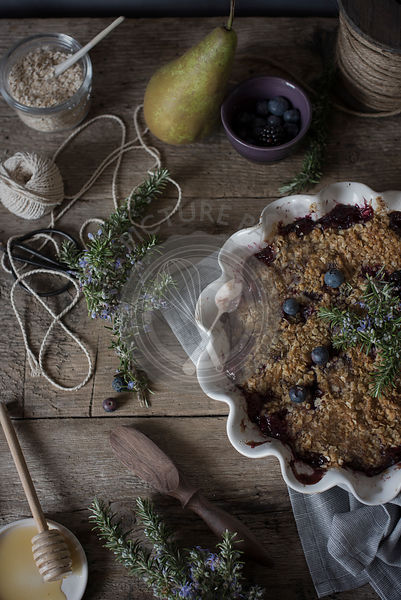 Blueberry, pear and blackberry crumble