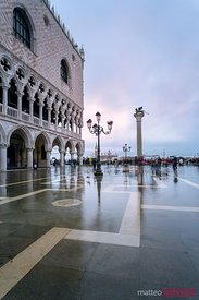 St marks square flooded at high tide, Venice, Italy