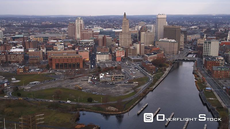 Aerial Approach to Providence, Ri from the South Over the Providence River.