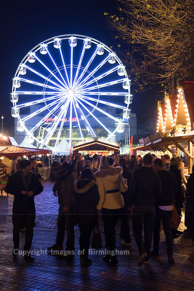Christmas celebrations in Centenary Square, Birmingham. The German Market and big wheel.