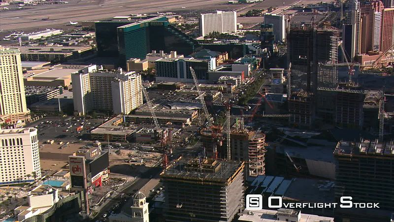 Looking down at new Construction along the Las Vegas Strip.