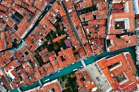Aerial view of houses and canal, Venice