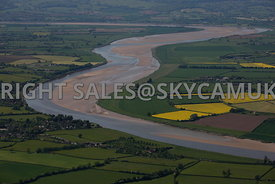 River Severn aerial photograph showing Pimlico and other sand bars in the river Severn