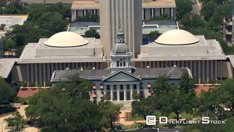 Aerial view of the Florida State Capitol building in Tallahassee.