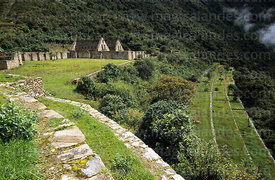 Terraces and main plaza of Inca site of Choquequirao, Peru