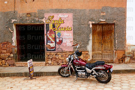 Motorbike outside Bodega Santa Lucia wine and singani shop, Camargo, Chuquisaca Department, Bolivia