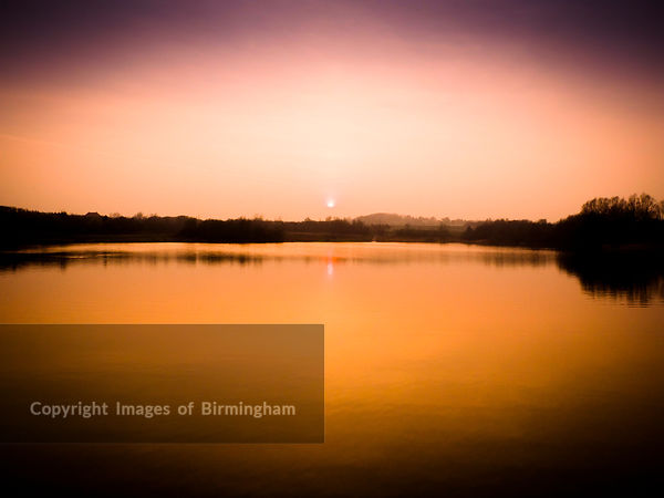 Priorslee lake, Telford, Shropshire, at sunset.