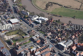Chester aerial photograph of  Tarvin road and Derelict land near Canal Side with residental housing and business offices near the river Dee Chester