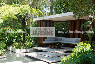Asiatic garden, Contemporary furniture, Contemporary garden, Exotic garden, Garden construction, Garden furniture, Pavement, Resting area, Terrace, Tropical garden, Water garden, Wood, Contemporary Terrace, Malaysian garden, Digital, Tree Fern
