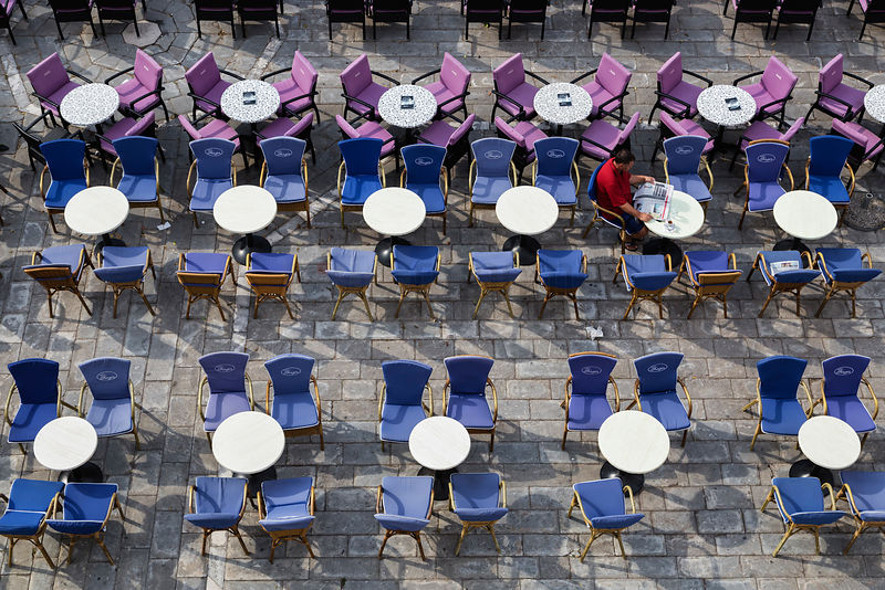 Elevated View of Cafe Tables and Chairs in Cathedral Square