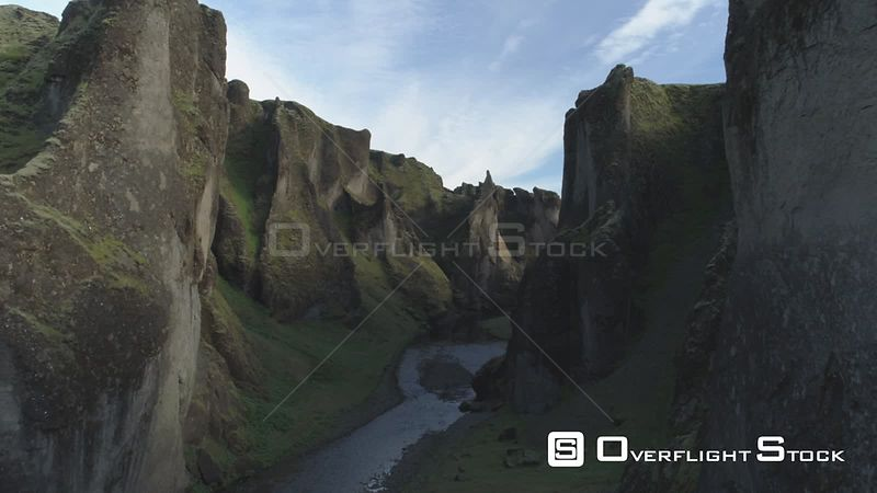 Fjadragljufur River Canyon, Steep Rock Walls, Slow Forward Aerial Shot, Iceland