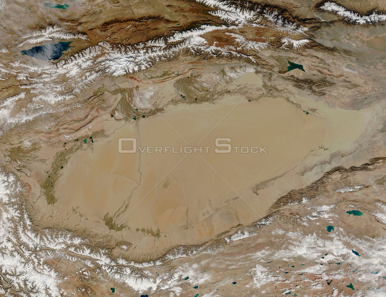 EARTH Taklamakan Desert -- 2005 -- The entire Taklamakan Desert is visible in this MODIS image. Covering a large swathe of Central Asia