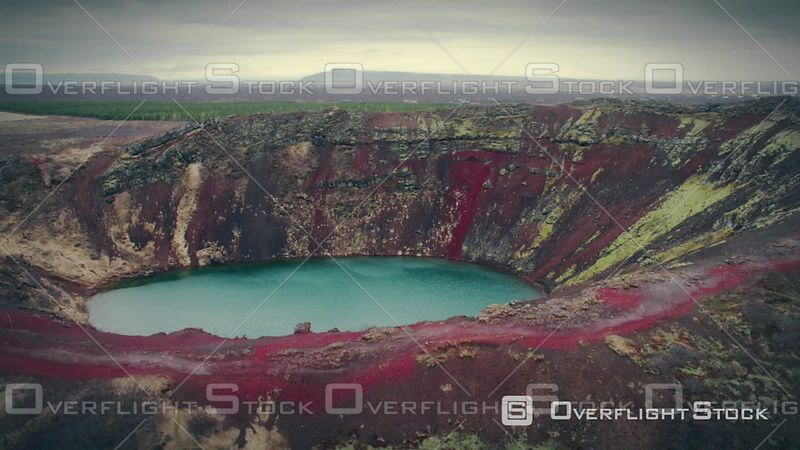 Aerial View of the Colourful Volcanic Kerid Crater, Selfoss, Iceland, Filmed by Drone