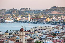 Zakynthos town and harbour at sunset, Zakynthos, Greece
