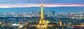 Panoramic of Paris city and Eiffel tower at dusk, France