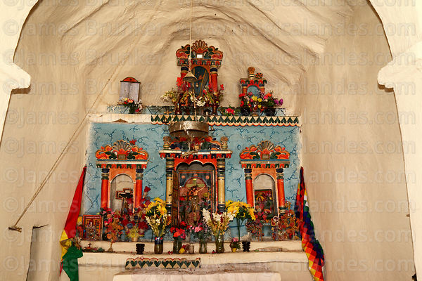 Detail of altar inside church at Cotasaya, Sajama National Park, Bolivia