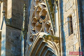Facade of St Nazaire church with gargoyle, Carcassonne, France